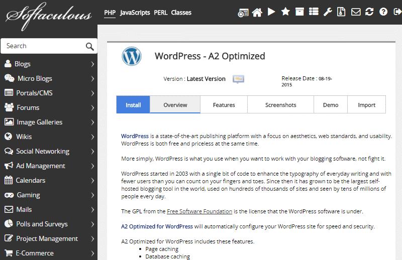 wp optimised a2hosting